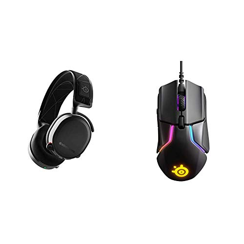 SteelSeries Arctis 7 (2019 Edition) Lossless Wireless Gaming Headset with DTS Headphone:X v2.0 Surround - Black & Rival 600 Gaming Mouse - 12,000 CPI TrueMove3+ Dual Optical Sensor
