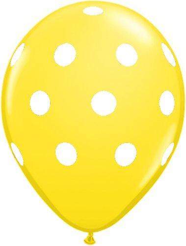 12 Yellow Dot Polka Dot Balloons – Made in USA, Health Care Stuffs