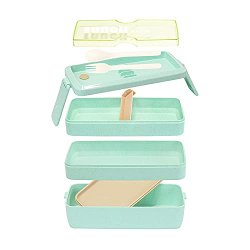 Bestjing Bento Box Lunch box, Stackable 3-in-1 Compartment, BPA Free Food Storage Containers for Healthy Lunch and Snacks, Great Ideal for school kids and office adults, Built-in Utensils (Green)