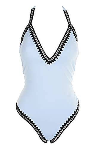 BAR III One Piece Be-Weave-It Monokini Multicolor Geo Swimsuit (Blue, Extra Large) from Bar III