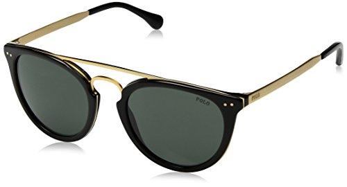 (Polo Ralph Lauren Men's Acetate Man Sunglass Round, SHINY BLACK, 51 mm)