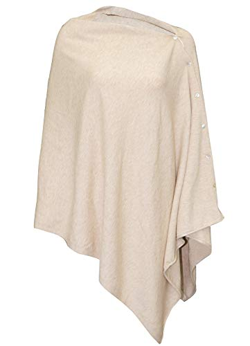 Womens Oversize Versatile Poncho Sweater Shawl Cape with Buttons Barley Twist 66