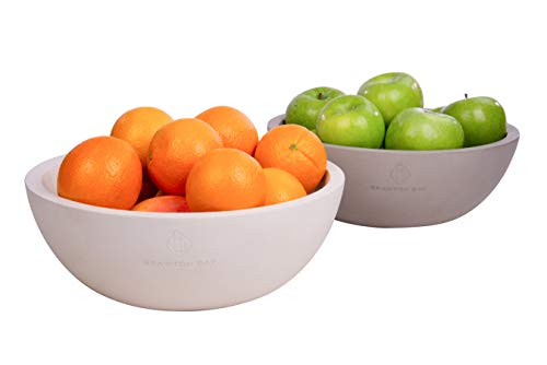 """Decorative Fruit Bowl for Kitchen or Dining Room, Concrete, White - Extra Large Food Bowls for Snacks, Candy - Handmade Kitchen Accessories for Tables and Countertops, 12"""" Diameter by Brawton Bay (Image #1)"""