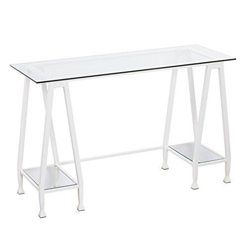 Metal / Glass Writing Desk - Minimalist Design - Fresh White Contemporary Style