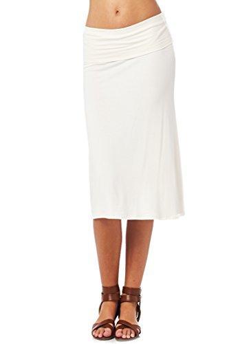 (82S-9021RS-CRM Women'S Rayon Span Mid-Calf Maxi Skirt - Cream M)