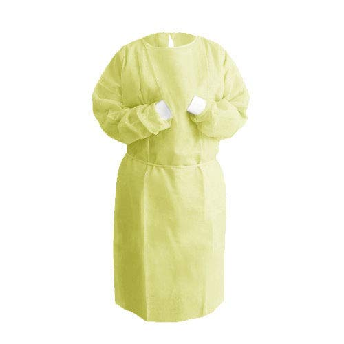 Isolation Gown Knitted Knit Cuff, Medical Dental, Latex Free, Fluid Resistant (Yellow, 50 Gowns/5 Pack) by PlastCare USA (Image #1)