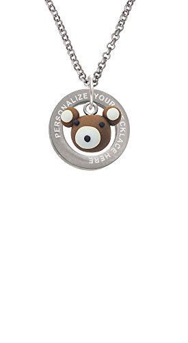 Fimo Clay Teddy Bear Custom Engraved Affirmation Ring Necklace
