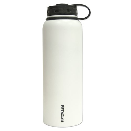Fifty/Fifty White Vacuum-Insulated Stainless Steel Bottle with Wide Mouth - 40 oz. Capacity