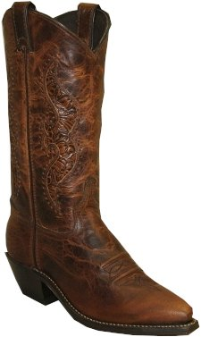 Abilene Women's Hand Tooled Inlay Cowgirl Boot Snip Toe Brown 8.5 M US