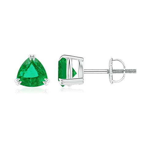 Double Claw-Set Trillion Emerald Stud Earrings in 14K White Gold (5mm Emerald)