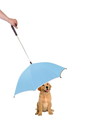 - PET LIFE Pour-Protection Rain Pet Dog Umbrella with Reflective Lining and Leash Connector, One Size, Light Blue with Black Handle