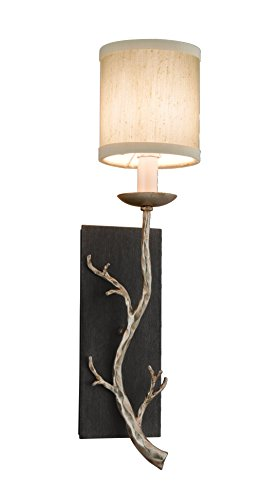 (Troy Lighting Adirondack 1-Light Wall Sconce - Graphite And Silver Leaf Finish with Hardback Linen Shade)