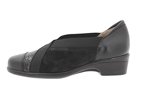 Calzado mujer confort de piel Piesanto 9608 zapato abotinado casual cómodo ancho Negro