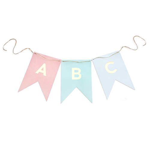 My Mind's Eye Trend Style Letter Banner, 10 Feet Long, Pink, Gold, and Aqua -