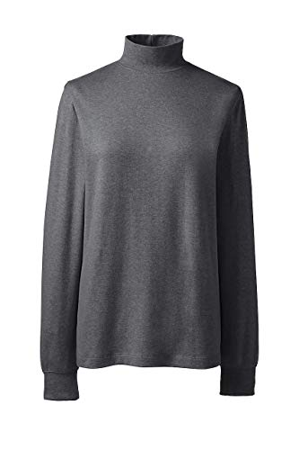 Lands' End Women's Relaxed Cotton Mock Turtleneck, L, Charcoal Heather ()