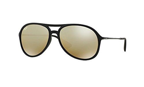 Ray-Ban Alex Sunglasses RB4201F 622/5A Rubber Black Light Brown Mirror Gold 59 16 145