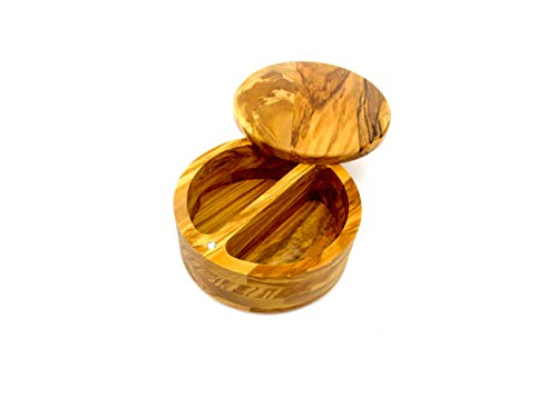 (Olive Wood Salt Cellar Box Container by Trademark Innovations)