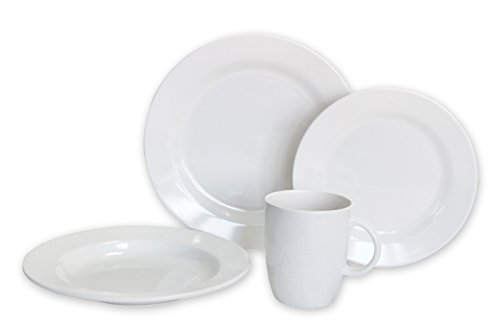 Norestar Non-Skid 16-Piece Melamine Dishware Set for Boat/RV: Bowls, Plates, Mugs. Ideal as Gift (Solid White Collection) (Non Skid Dinnerware)