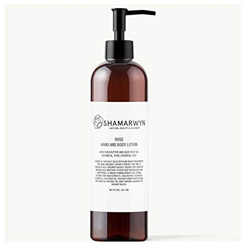 Rose Hand & Body Lotion, Natural-Organic, Hydrating, Shea Butter & Acaí Fruit Oil 8oz by Shamarwyn by Shamarwyn: Natural Beauty & Alchemy