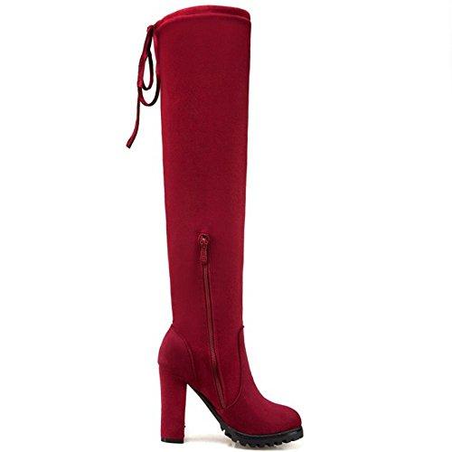 COOLCEPT Damen Western OverKnee Stiefel Stretch Blockabsatz Zipper 32 Red
