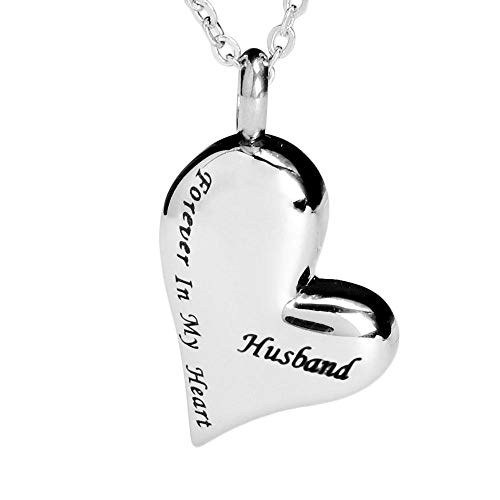 (7COLOR WINGS Cremation Urn Necklace for Ashes Urn Jewelry Memorial Pendant with Gift Box Memorial Urn Necklace Forever in My Heart (Husband))
