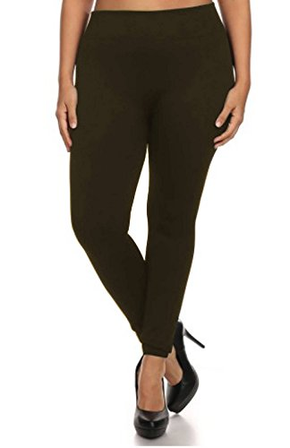 Popular Women's Plus Size Lightweight Basic Full Length Leggings - Brown - 1X/2X