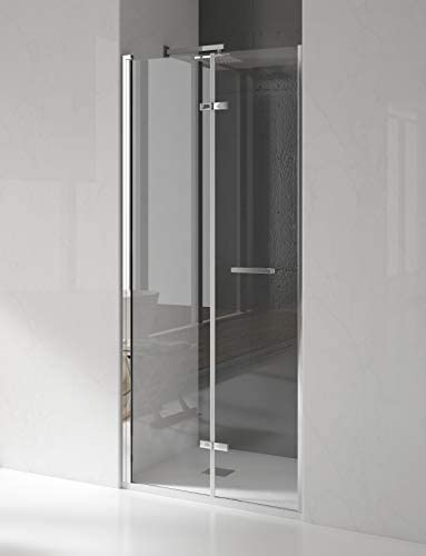 Mampara de ducha frontal de 2 hojas plegables - Cristal de ...