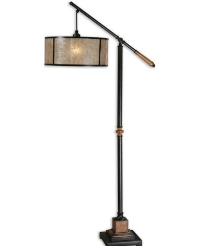 62 Aged Black and Rustic Mahogany Natural Mica Shade Pharmacy Style Floor Lamp by Diva At Home Mahogany Shade