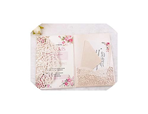 Greeting Card,10Pcs/Lot Elegant Halloween Pocketfold Cut Rose Wedding Invitation Cards Three Folded Card Greeting Cover For Party,Light Pink,Card -