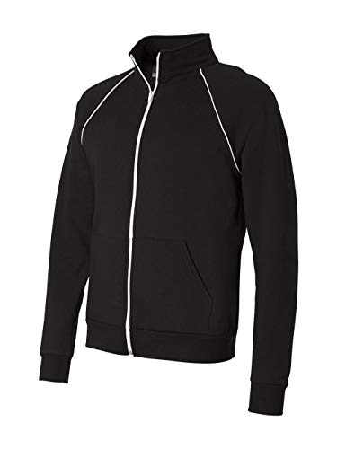 - Bella + Canvas Mens Piped Fleece Jacket (3710)- Black/White,Small