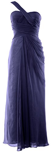 Azul Women Shoulder Prom One Macloth Party Formal Dress Wedding Evening Gown Long Oscuro Marino PW6S16xn