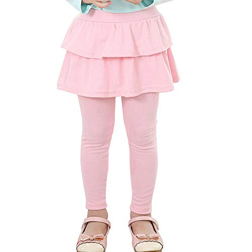 Auranso Kids Little Girls Footless Stretchy Leggings with Ruffle Tutu Skirt Tights Pants 2-10 Years Pink ()
