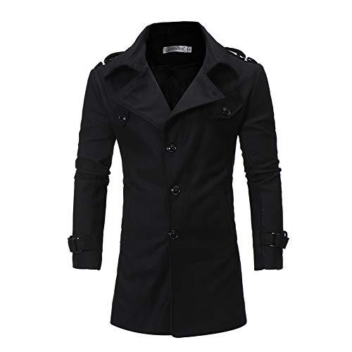 Trench Lunga S yesmile E Manica Cappotto Inverno Cappuccio ' Camicetta Autunno Inverno Con Uomo Men Button Jacket Cappotti Da Giacche Nero Outwear qSYZx7