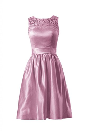 W 18 Brautjungfer Kleid Daisyformals Spitze Juwel Partykleid bm2422a Spitze Kurz Satin altrosa Hals cPIXYqqw