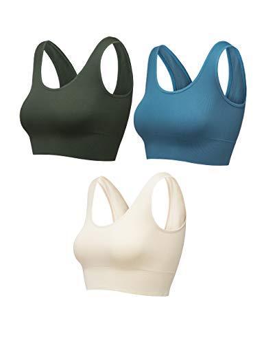 FITATH Women's Light Support Seamless Sport Bra – Wireless Yoga Sleelveless Crop Tops