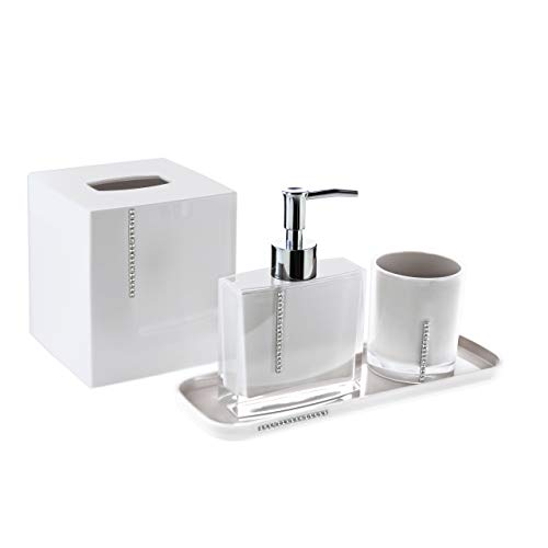 Decozen Set of 4 Pcs Bathroom Accessories Set in Crystal White Color Bath Accessories Set with Tumbler Lotion Dispenser Square Tray Tissue Box Bathroom Decor Accessory Set