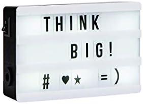 Butlers Blockbuster Mini Lightbox XS mit schwarzen Buchstaben - LED Lichtbox als Deko - Cinema Leuchtkasten mit USB Anschluss und Magneten