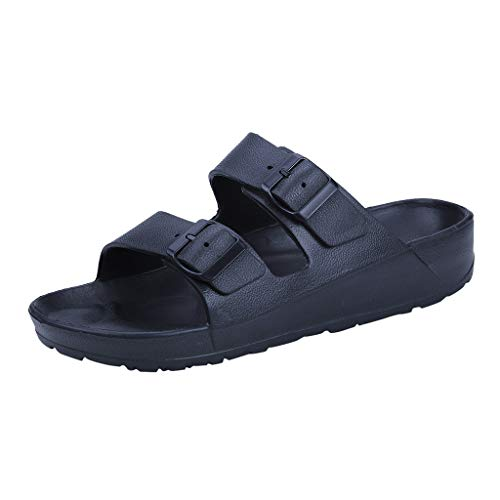OutTop(TM) Men's Flat Sandals Buckle Wear Slippers Beach Shoes Ultra Light Double Slip-On Shower Shoes (US:7, Black)