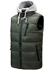 Mens Casual Puffer Vest Lightweight Cotton Padding Warm Outdoor Sleeveless Jacket Zip-Up Solid Loose Plus Size Down Coat