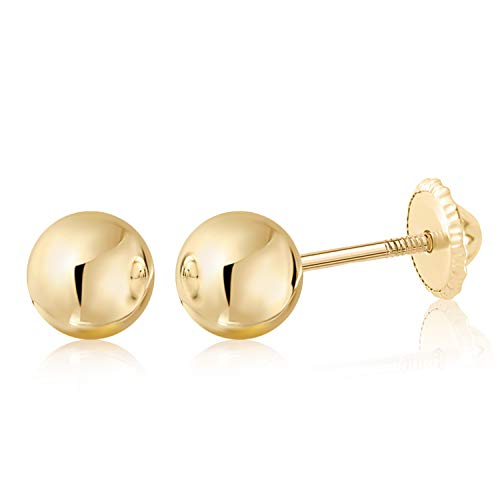 18K Yellow Gold Polished Screwback Stud Earrings with Ball Children Kids Adult Second Piercing 5mm