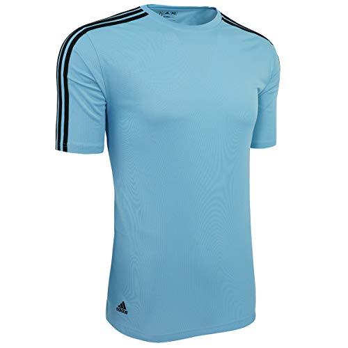 Adidas ClimaLite Men's 3, Stripes Golf T-Shirt, ARGENTINA BLUE/BLACK, XXX-Large
