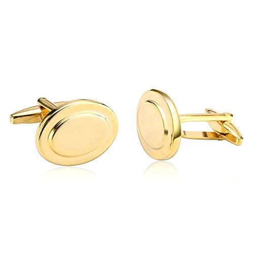 (MoAndy Men's Cufflinks Stainless Steel Fashion Style Oval Gold Plated)