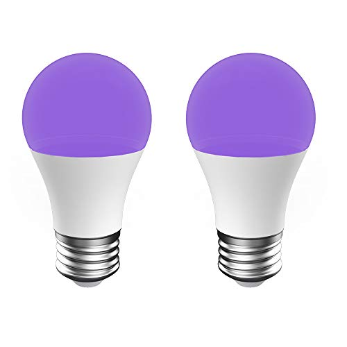 Onforu UV LED Black Lights Bulb, 7W A19 E26 Bulb, UVA Level 385-400nm, Glow in The Dark for Blacklight Party, Body Paint, Fluorescent Poster, Neon Glow (2 Pack) -
