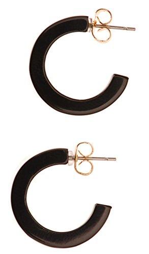 Noir Black Earrings (L. Erickson Skinny Small Hoop Earrings - Black)