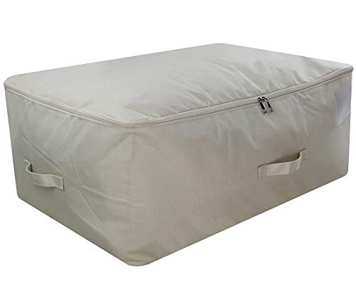 iwill CREATE PRO 105L Capacity Underbed Blankets, Pillow Storage Organizer Containers fits King Size Comforters with Top unzips on Three Sides, -