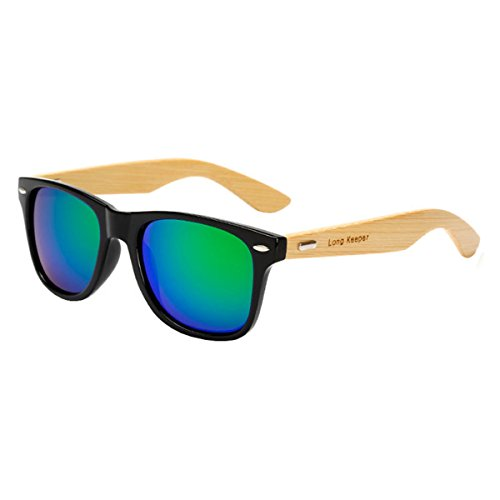 Long Keeper Bamboo Wood Arms Sunglasses for Women Men (Black, - Sunglasses Bamboo Arm