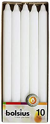 BOLSIUS Straight Unscented White Candles Bulk Pack - 11-inch Long Candles - 12 Hour Long Burning Candles - Perfect for Emergency Candles, Chime Candles, Table Candles for Wedding, Dinner, Christmas