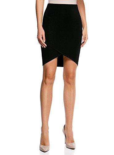 oodji Ultra Mujer Falda de Punto con Parte Inferior Asimétrica Negro (2900N)