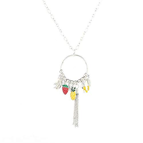 (Lindsie-Box - Women Pineapple Strawberry Banana Pendant Necklace Silver/gold Color Tassel Jewelry Necklaces Suspension Jewelery)