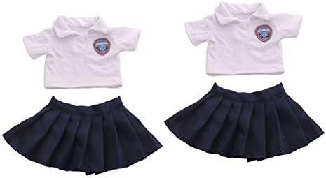 Toygogo ドール衣装 制服 Tシャツ スカート 18インチアメリカンドール ドレスアップ アクセサリー 2セット